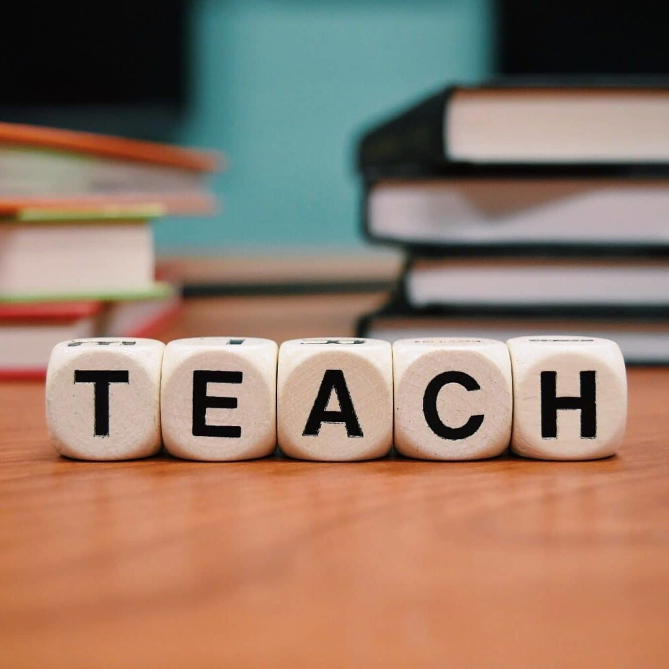 """Teach"" spelled out in blocks"