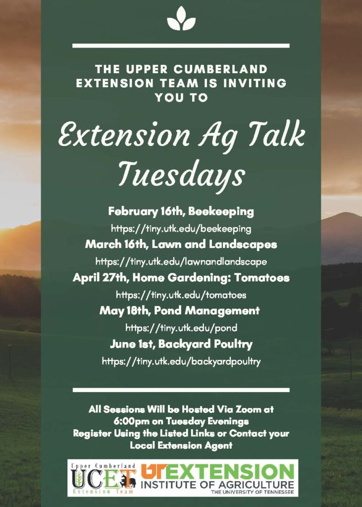 Flyer listing dates & topics for Extension Ag Talk Tuesdays