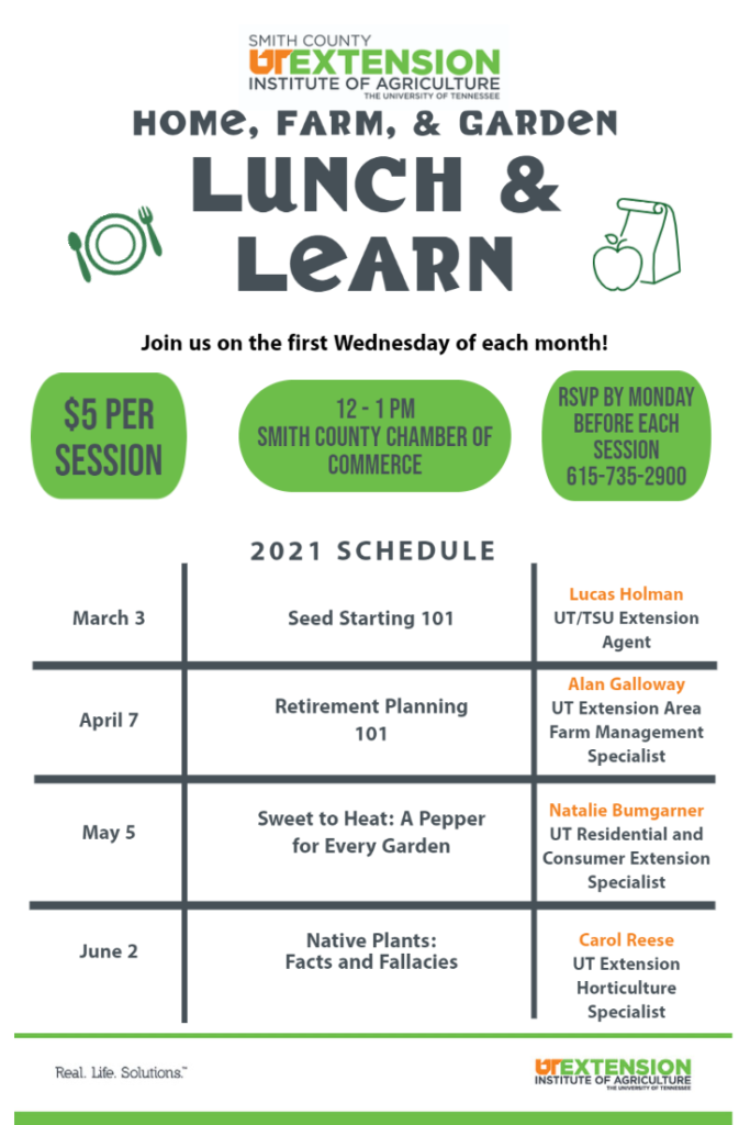 Flyer with dates and topics for the 2021 Lunch & Learn series