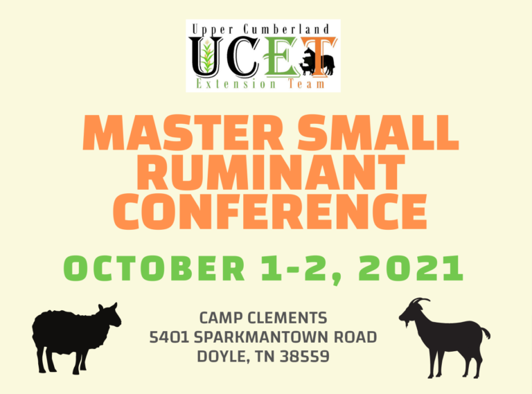 Upper Cumberland Master Small Ruminant Conference | October 1-2, 2021